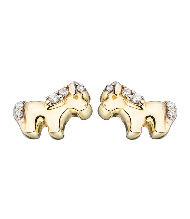 JOBO Kids earrings studs Horses 375 Gold with Zirconia