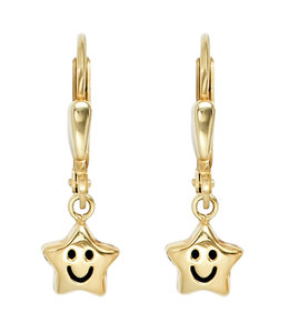 Aurora Patina Kinder oorbellen Smiley Stars goud