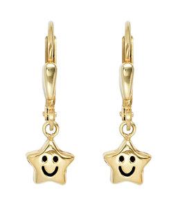 JOBO Kinder oorbellen Smiley Stars goud