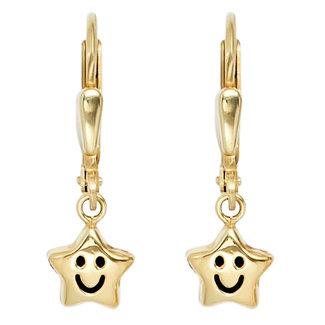 Aurora Patina Kinder oorbellen Smiley Stars goud
