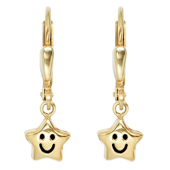 Kinder oorbellen Smiley Stars in 333 goud