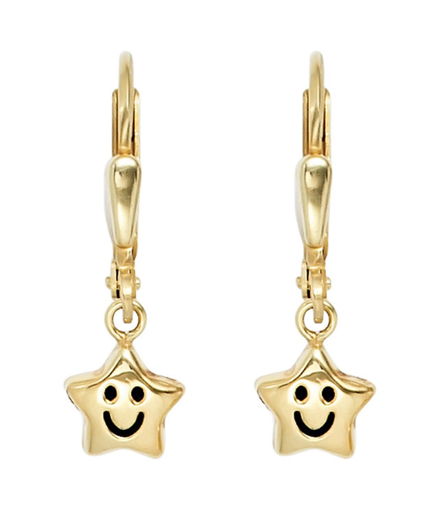 Aurora Patina Kinder oorbellen Smiley Stars in 333 goud