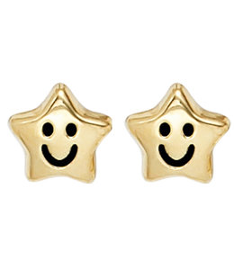 Aurora Patina Kinder Ohrstecker Smiley Stars Gold
