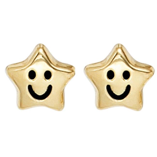 Gouden oorstekers voor kinderen Smiley Stars