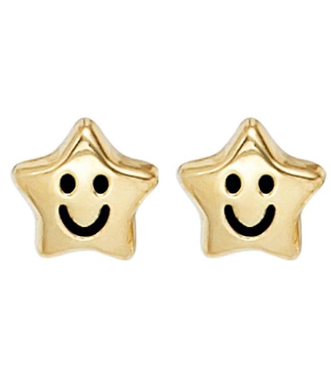 JOBO Gouden oorstekers voor kinderen Smiley Stars
