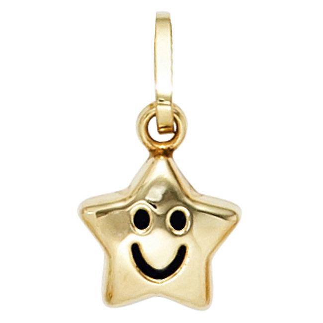Kettinghanger voor kinderen Smiley Star in 333 goud