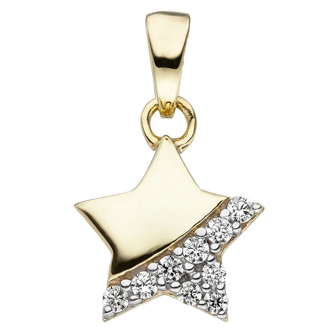 Kids pendant Star in 375 Gold with zirconia's
