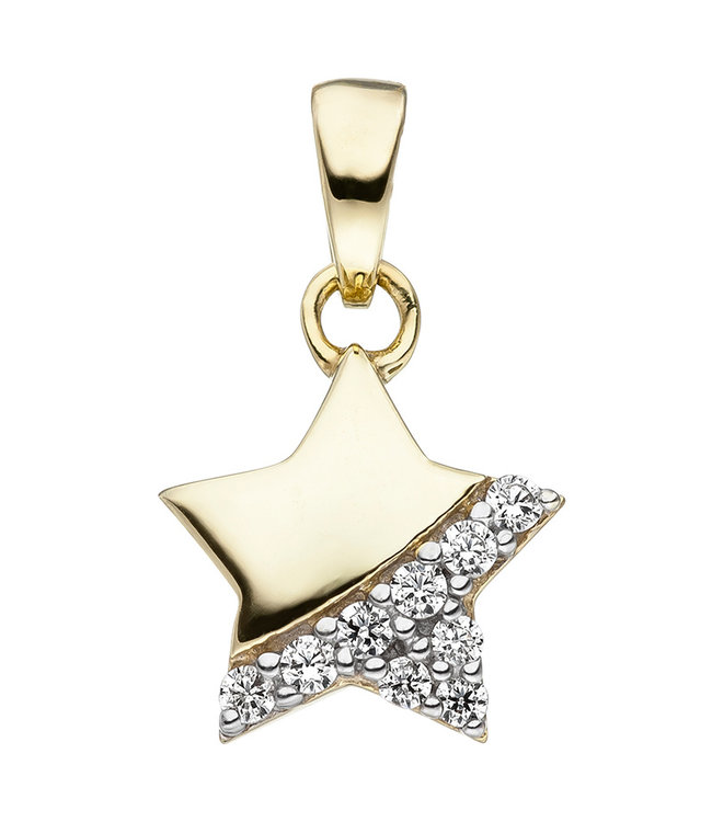 JOBO Kids pendant Star in 375 Gold with zirconia's