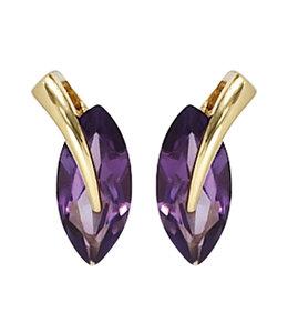 Aurora Patina Gouden oorstekers met 2 amethisten