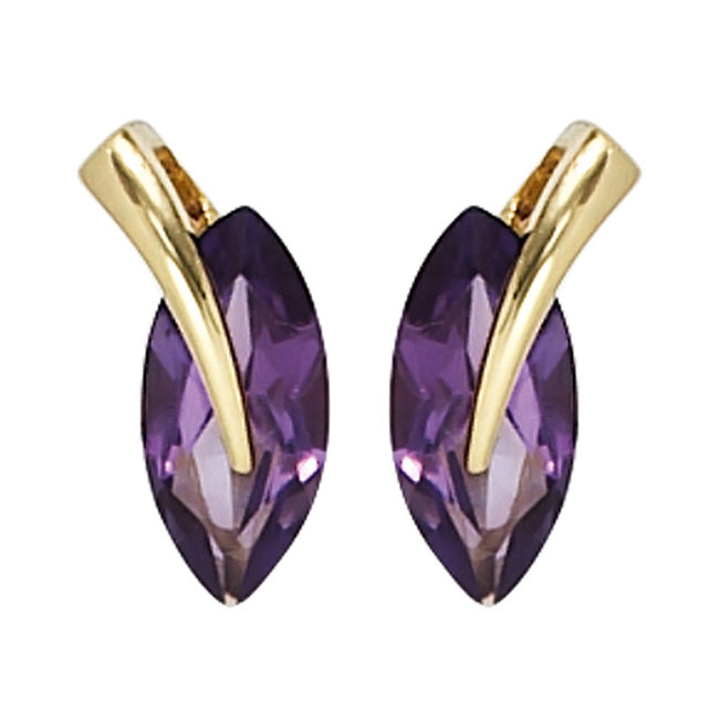 Aurora Patina Gold stud earrings with 2 amethysts