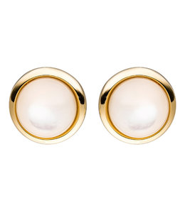 JOBO Gold stud earrings with 2 mother-of-pearl stones