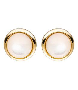 JOBO Gouden oorstekers met 2 parelmoerstenen
