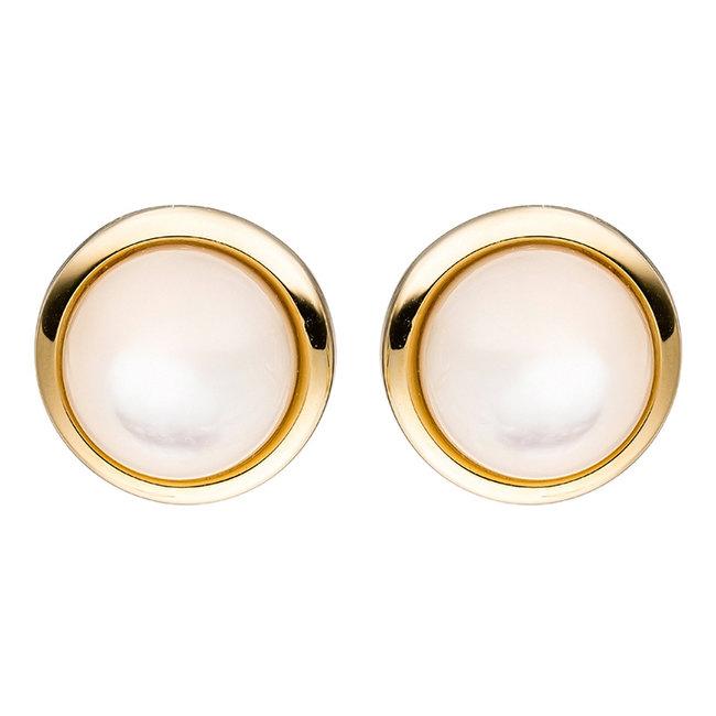 Gouden oorknopjes 14 karaat (585) met 2 parelmoerstenen