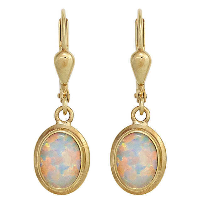 Golden earrings (333) with 2 synthetic opals