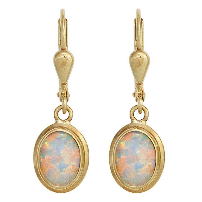 Gouden oorbellen (333) met 2 synthetische opalen