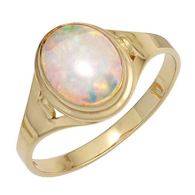Golden ring (333) with synthetic opal