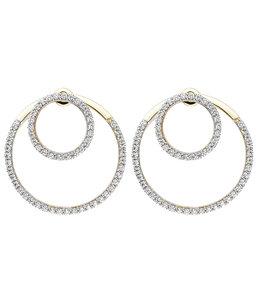 JOBO Dubbele oorbellen 375 goud met zirkonia