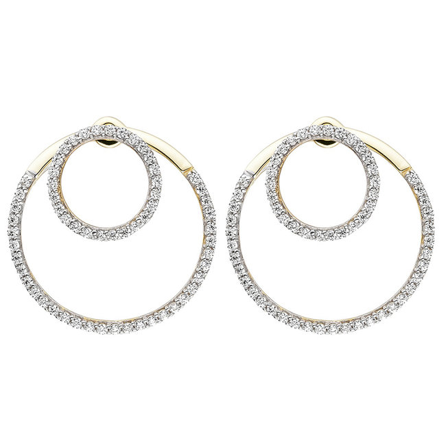 Double earring 9 carat Gold with Zirconia