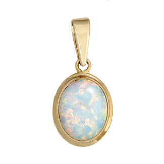 Aurora Patina Gouden kettinghanger opaal