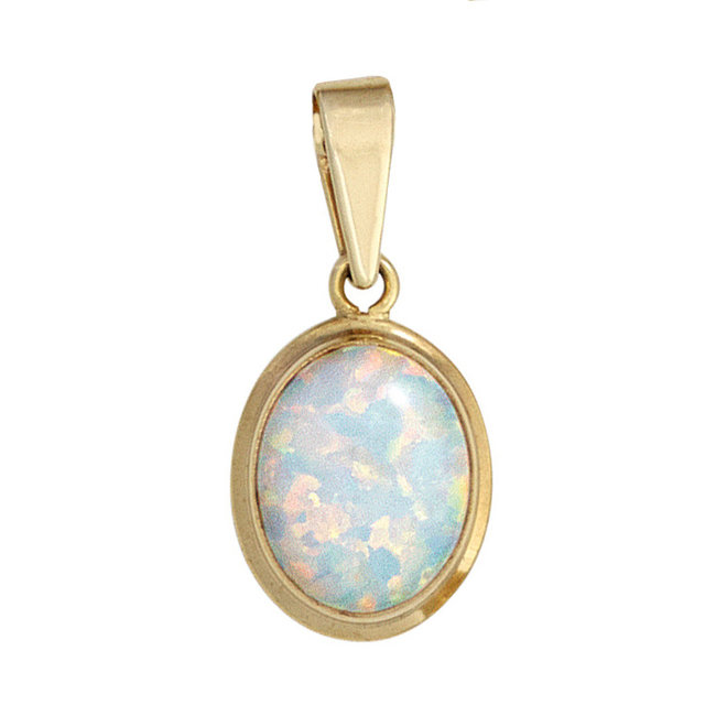 Golden pendant (333) with synthetic opal