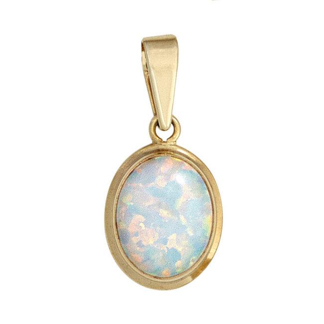 Gouden kettinghanger (333) met synthetische opaal