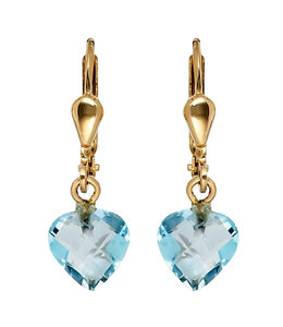 JOBO Golden earrings blue topaz hearts
