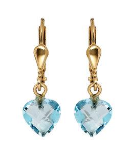 JOBO Gouden oorbellen blauwtopaas hartjes