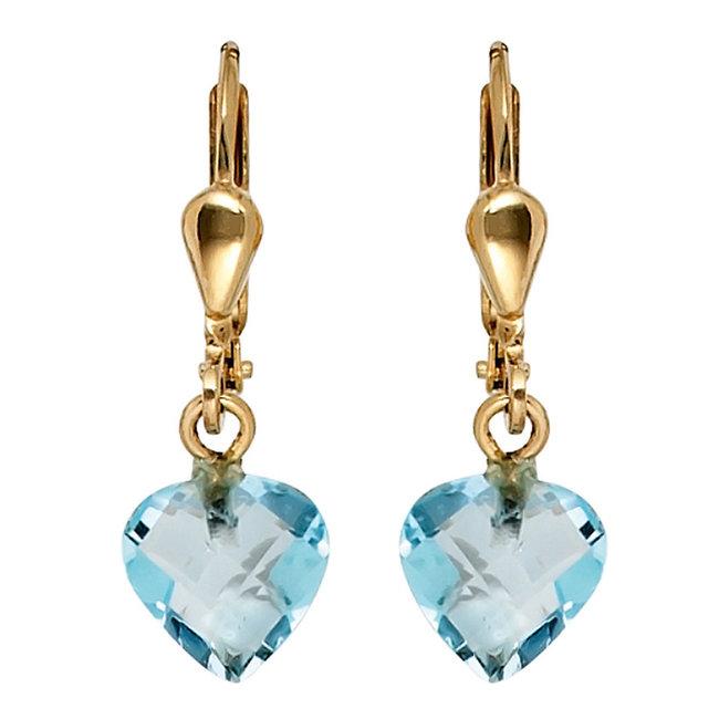 Gouden oorbellen 14 karaat blauwtopaas hartjes
