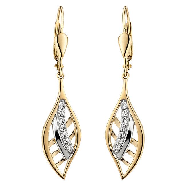 Gold earrings 9 carat with 14 zirconias