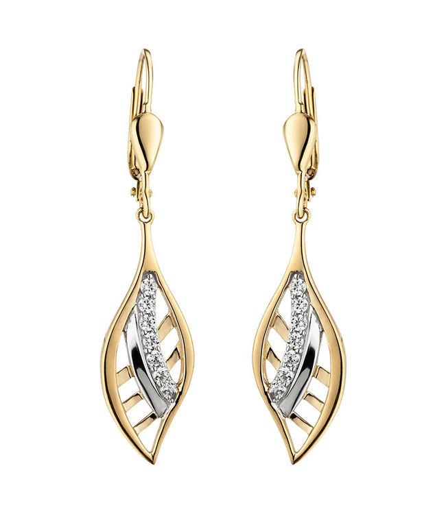 Aurora Patina Gouden oorbellen 9 karaat met 14 zirkonia's