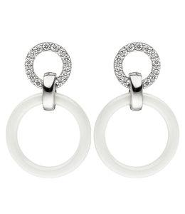 JOBO Silver earrings zirconia and white ceramics