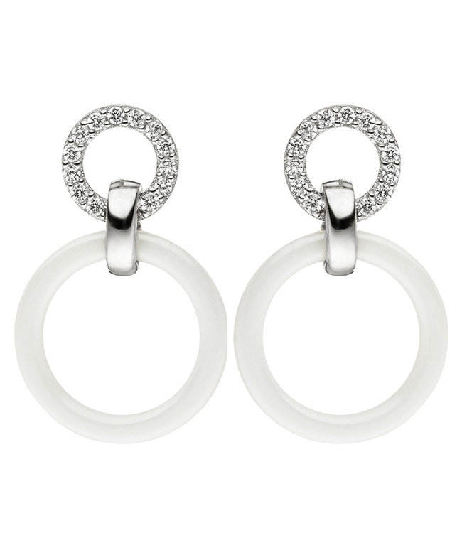 JOBO Sterling silver earrings with zirconia and ceramic ring