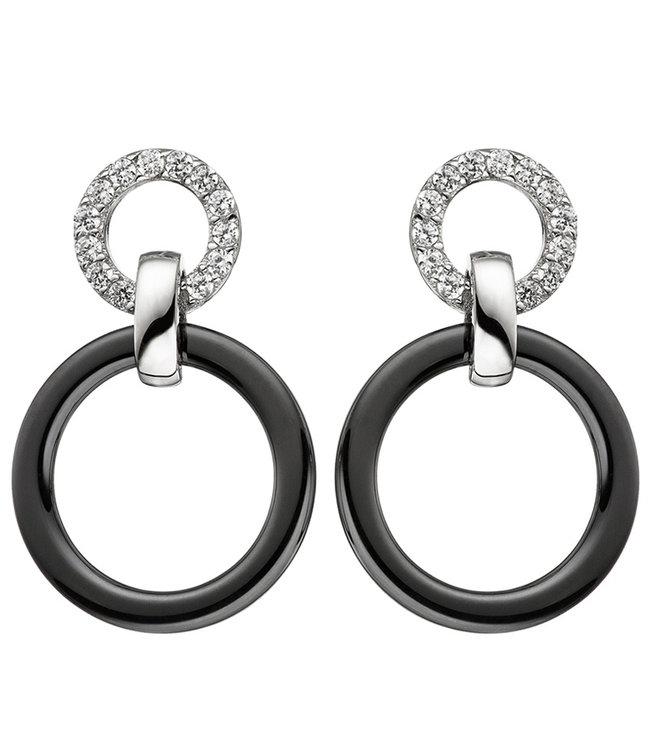 JOBO Sterling zilveren oorbellen met zirkonia en keramiek ring