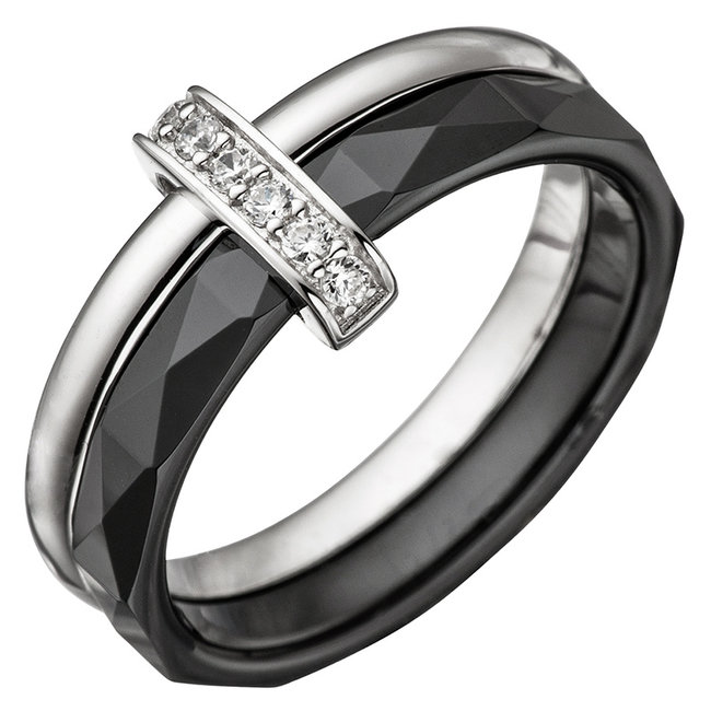 Black ceramic and silver ring combination with zirconia