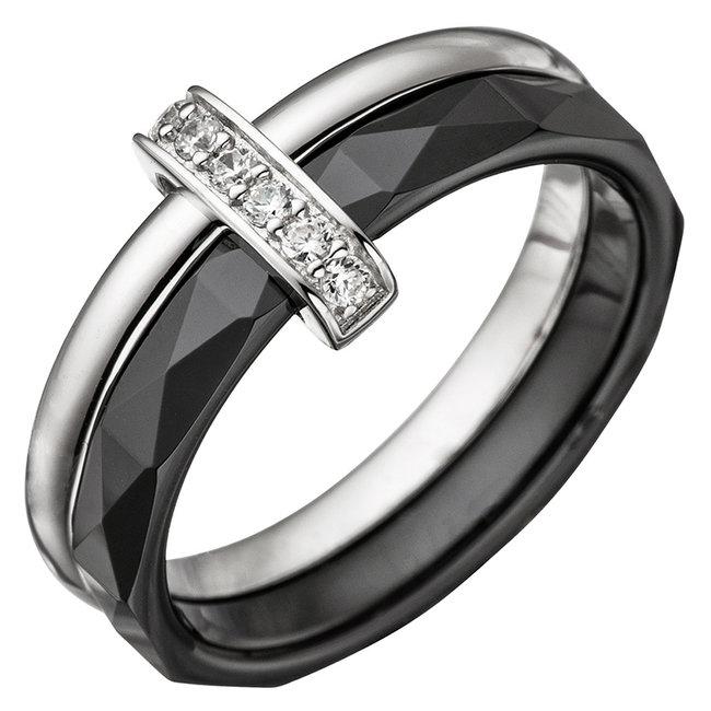 Keramiek en zilver ring combinatie met zirkonia