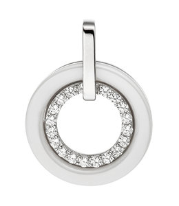 JOBO Silver pendant zirconia and white ceramic