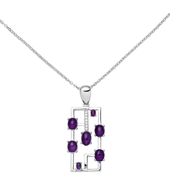 Aurora Patina Silver necklace with 7 amethysts and 7 zirconias