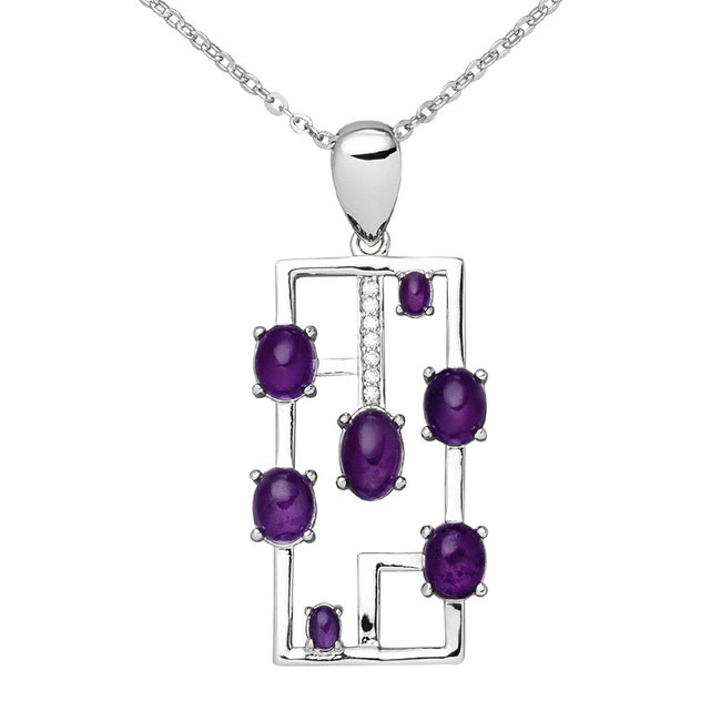 Silver necklace with 7 amethysts and 7 zirconias