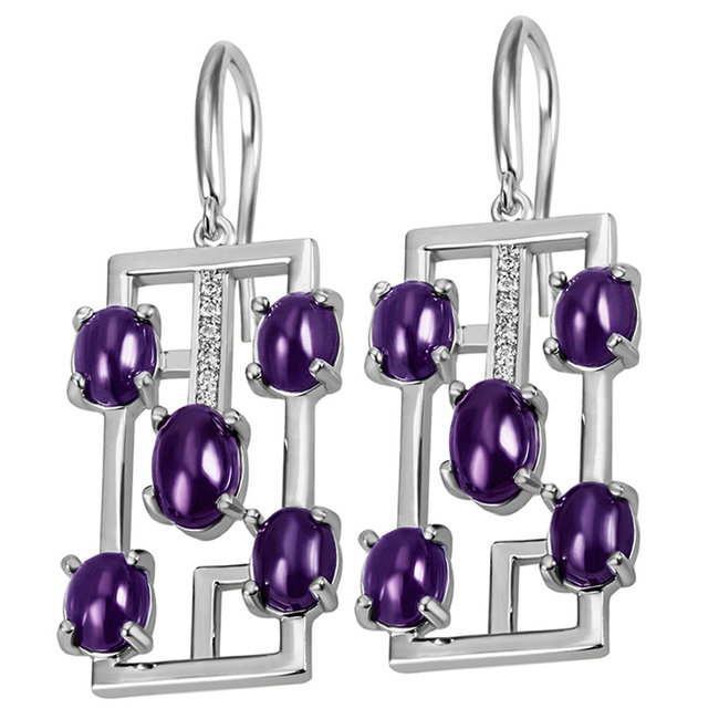 Silver earrings with 10 amethysts and 12 zirconias