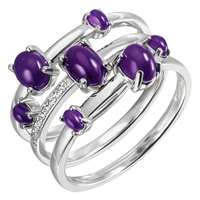 Zilveren ring met 7 amethisten en 9 zirkonia's
