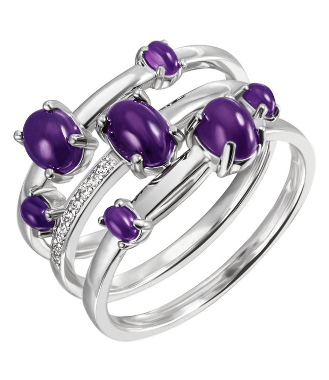 JOBO Silver ring with 7 amethysts and 9 zirconias