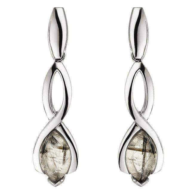 Sterling zilveren oorbellen met Toermalijn kwarts