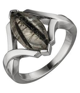 Aurora Patina Silver ring with Tourmaline Quartz