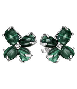 JOBO Silver earring studs with Malachite and zirconia