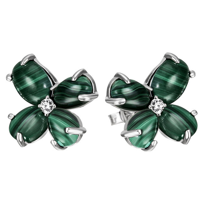 Sterling silver earring studs with Malachite cabochons en zirconia