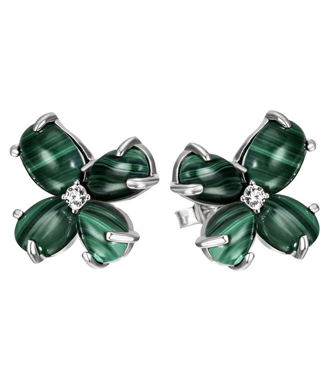 Aurora Patina Sterling silver earring studs with Malachite cabochons en zirconia