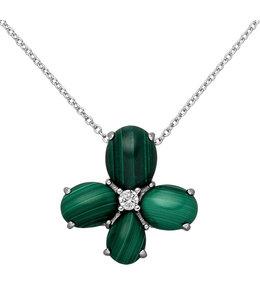 Aurora Patina Silberne Halskette mit Malachit und Zirkonia