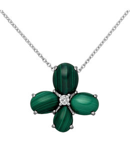 Aurora Patina Silver pendant with Malachite and zirconia