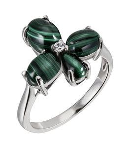 Aurora Patina Silberne Ring mit Malachit und Zirkonia