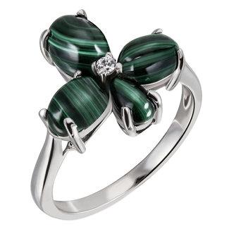 Aurora Patina Zilveren ring met Malachiet en zirkonia